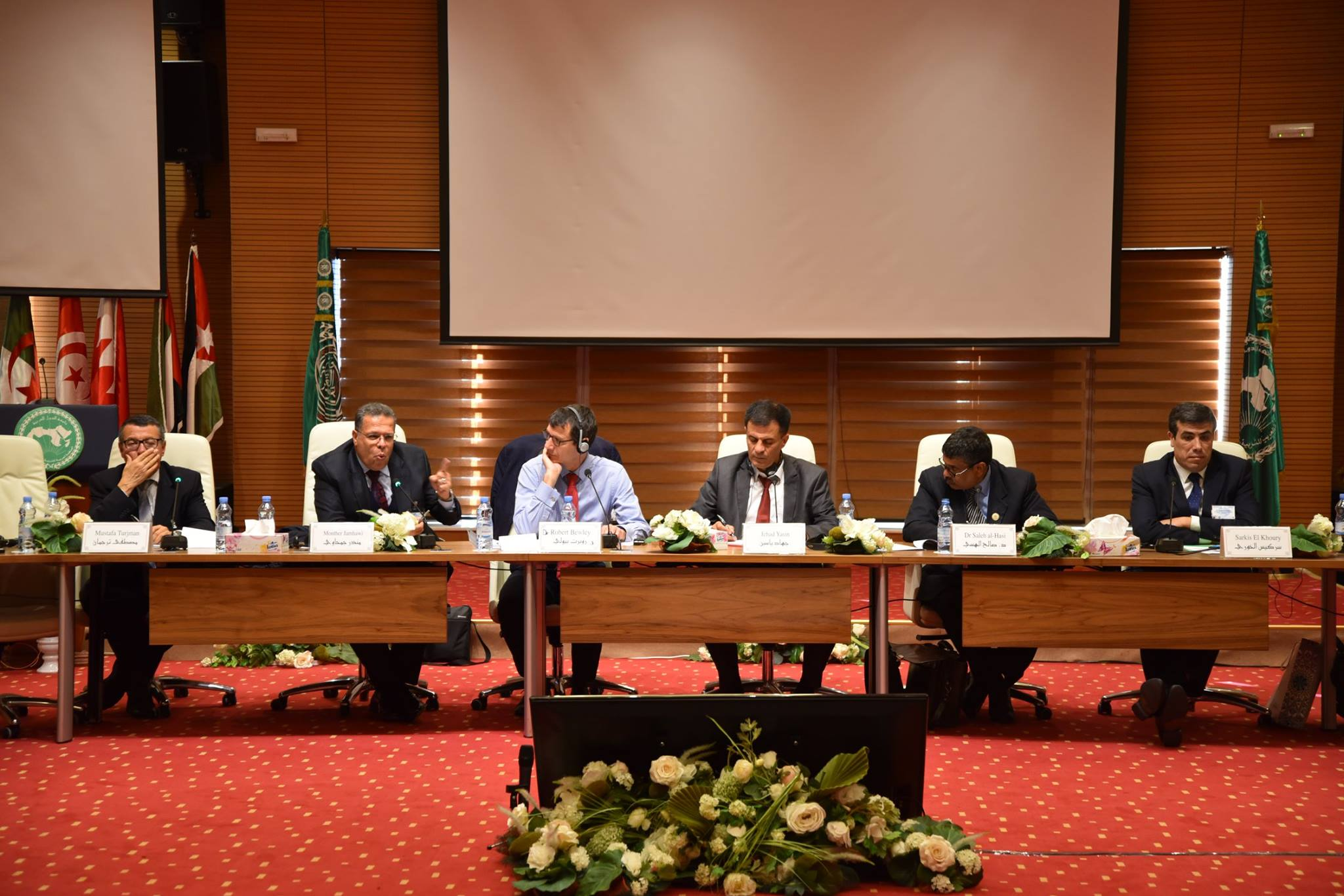 The regional round table on how to implement digital documentation and digital tools in the MENA region with Dr Monther Jamhawi (DoA, Jordan), Mustafa Turjman and Dr Saleh al-Hasi (DoA, Libya), Jehad Yasin (MoTA-DACH, Palestine), and Sarkis al-Khoury (DGA, Lebanon). Chaired by EAMENA director Dr Robert Bewley. Photo © Alecso المنظّمة العربيّة للتّربية والثّقافة والعلوم