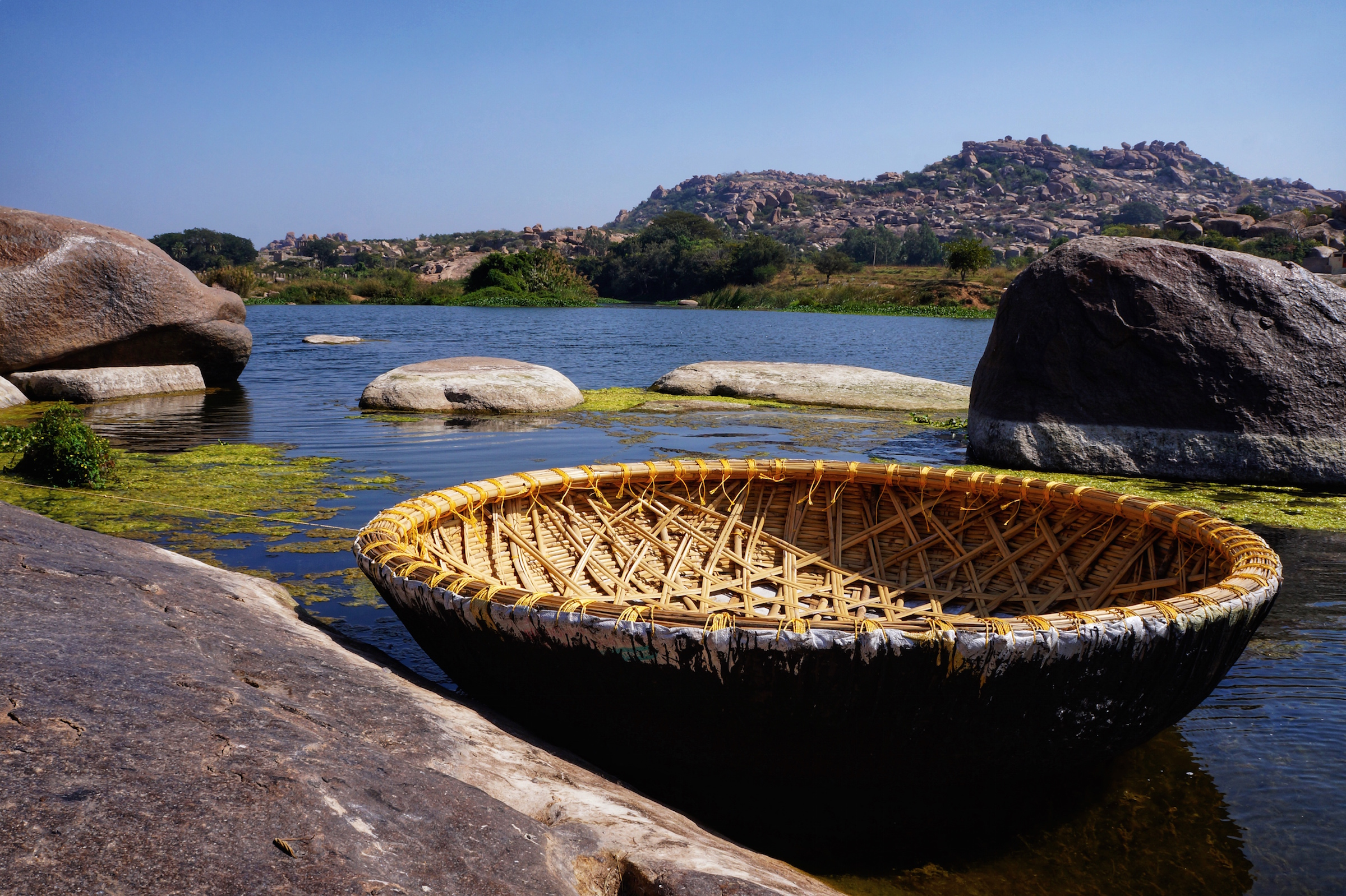 A coracle boat used to ferry visitors across the river.