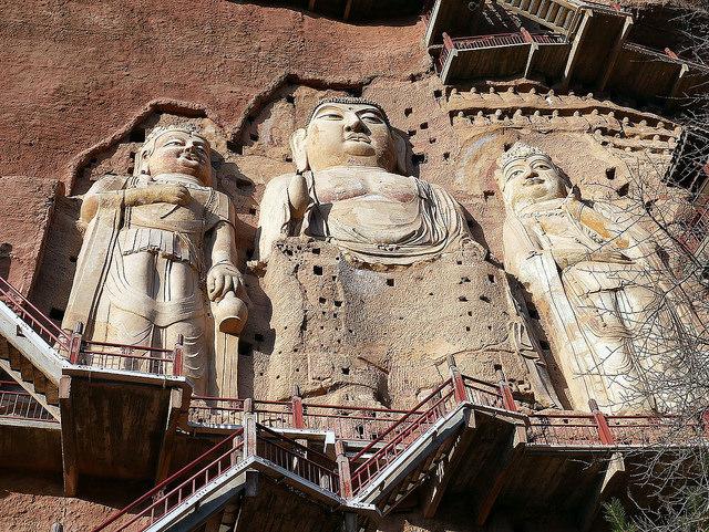 The three large buddhas. Anagoria, Wikimedia Commons