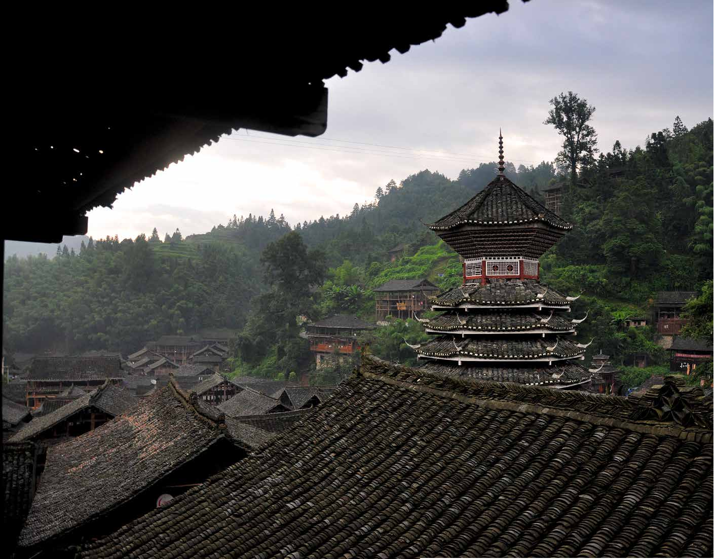 The drum tower in the Dong village of Dali, China.