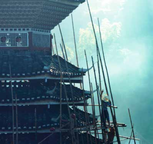 The Dong drum tower in Dali undergoing restoration.